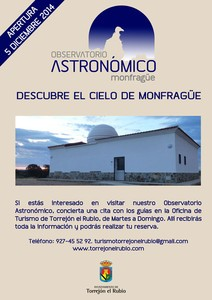 EL DÍA 5 DE DICIEMBRE EL OBSERVATORIO ASTRONÓMICO DE MONFRAGÜE ABRE SUS PUERTAS
